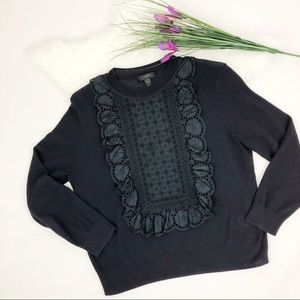 [J. Crew] Navy Blue Ruffle Front Sweater